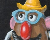 Mini Painting of a Classic Toy, Still Life with Potatohead, Fun Small Original Art by Debbie Shirley