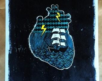 Heartstorm - Linocut 10/25