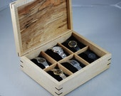 Handcrafted Spalted Maple & Quilted Maple Watch box - Holds 6 Watches