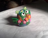 Cute Flowered Green and Floral Owl Pudgie