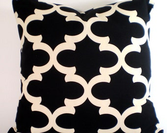 Black Cream Pillow Cover, Decorative Throw Pillows Cushion Covers Black Cream Moroccan Tile, Throw Pillows, Bed Couch Sofa, ALL SIZES