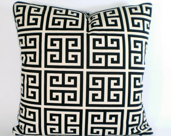 Black Cream Greek Key Pillow Cover, Decorative Throw Pillows Cushion Covers Black Cream Pillows,Throw Pillows, Bed Couch, Accent, ALL SIZES