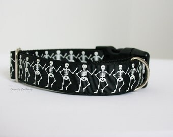 "Skeleton Dog Collar or Matching Lead Leash Seat Belt 3/4"" or 1"" width"