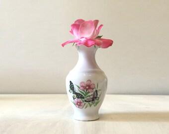 Vintage vase, butterfly vase, china flower vase, vintage flower vase, miniature porcelain vase, miniature vase, retro vase, retro china vase