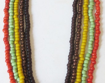 Colors of the earth beaded necklace set