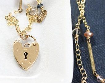 9k Gemstone Heart Padlock Necklace, Special Chain Antique Watch Fob Bar Links & Genuine Gemstones - Fascination
