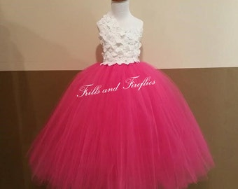 White and Hot Pink One Shoulder Flower Girl Dress-Classic Flowergirl Dress..OTHER COLORS AVAILABLE, Size 1t, 2t, 3t, 4t, 5t, 6, 7, 8