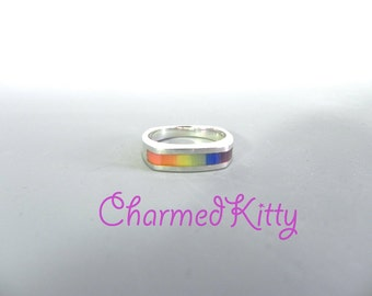 Vintage Sterling Rainbow Ring Silver Ring Rainbow Stones