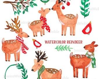 Watercolor Reindeer Clipart, Digital Watercolor Christmas Clip Art, Watercolour Clip Art, Hand Painted Seasonal Winter Watercolor Elements
