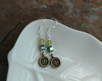 Tiny Green Button Earrings, Green and Gold Button Sterling Silver Earrings, Gold Button Earrings, Green Gold Button Earrings