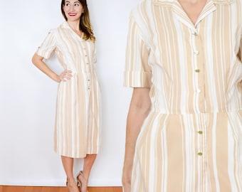 50s Tan White Striped Dress | Nylon Day Dress, Medium