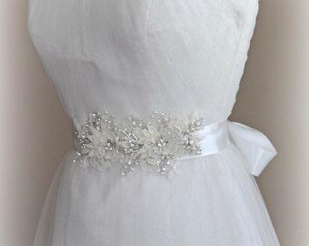 Ivory Flower Bridal Sash, Crystal & Pearl Sash, Wedding Belt with Lace - FELICITY
