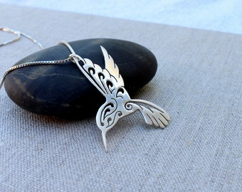Hummingbird necklace large, Hand cut sterling silver hummingbird