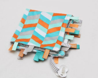 Minky Binky Blankie - Chevrons- Grey, Teal, Orange