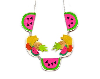 Fruit Necklace, Watermelon Necklace, Pineapple Necklace, Neon Statement Necklace, Banana Necklace, Colorful Necklace, Fruit Jewelry