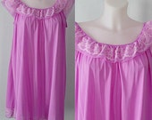Vintage Rose Pink Short Nightgown, Pink Nightgown, Vintage Nightgown, Vintage Short Nightgown, 1960s Nightgown, Plus Size Nightgownez