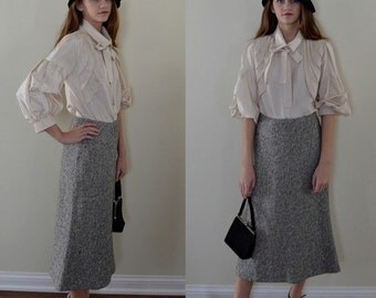 Vintage Emanuel Ungaro Paris Wool and Cashmere Flared Skirt, Vintage Skirt, 1980s Skirt, Emanuel Ungaro, Houndstooth Skirt