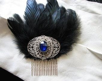 Silver hair comb | something blue | filigree | black hair comb | art nouveau