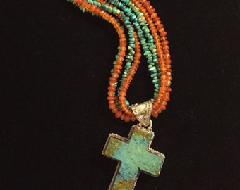 Large Turquoise & Silver Cross Pendant Necklace