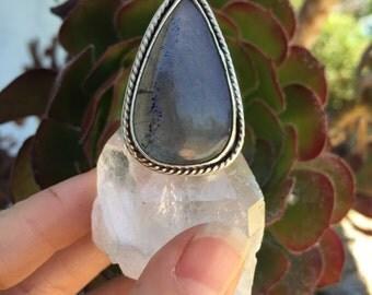 Labradorite Ring/ Sterling Silver Ring/ Labradorite Stone Ring/ Statement Ring/ Tear Drop Ring/ Natural Stone Ring/ Crystal Ring/ Geode Ring