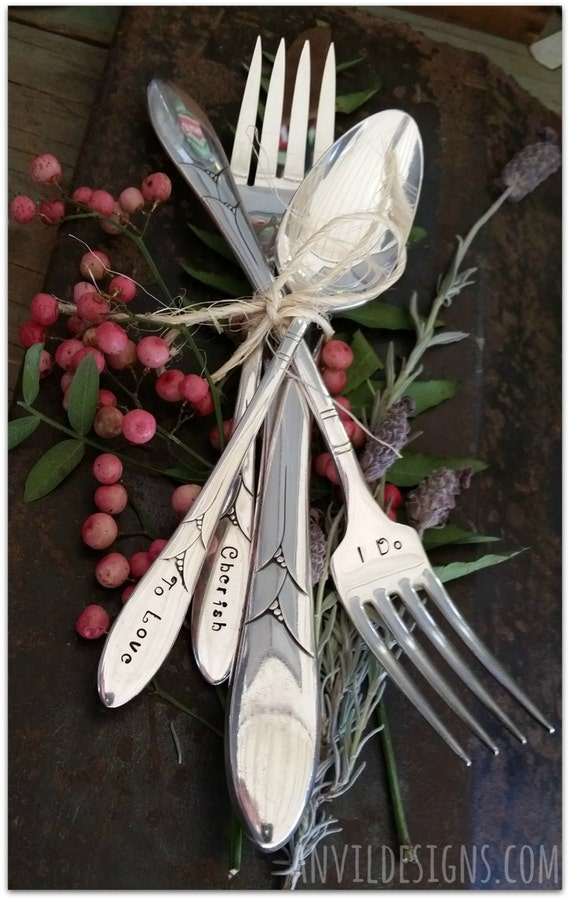 Wedding Silverware, I Do, Me Too, Hand Stamped, I Vow, To Love, Honor & Cherish, 8 Pieces, Vintage Silver, Bride and Groom, Photo Prop, 1932