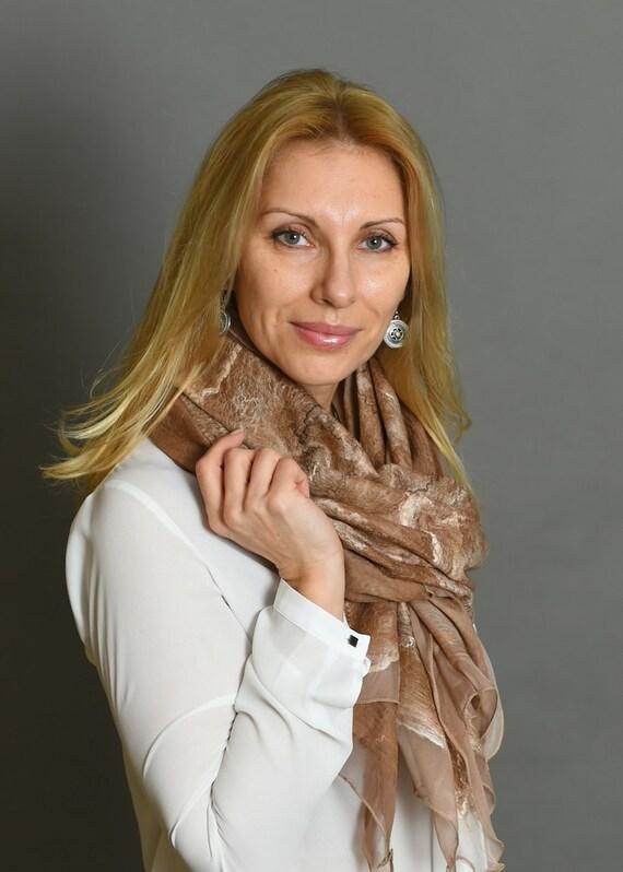 Nuno felted scarf, brown felted shawl, merino wool shawl, felted silk scarf, wool shawl, handmade shawl, large shawl, felted wrap, shawl