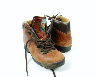 1970's ALICO Mountaineering Boots with Vibram Sole, Made in Italy, Women's Size 6 1/2
