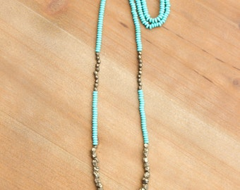 Turquoise + Pyrite Necklace