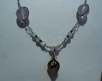 Lily Pendant Necklace Crystal Beads Sterling Silver Hand Made Unusual Spring Summer Vintage