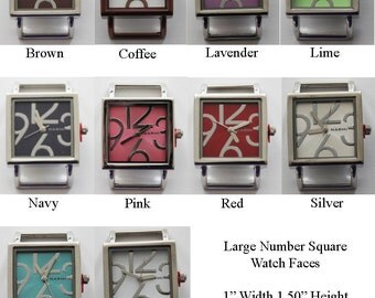 Large Number Square Solid Bar Watch Faces for Interchangeable Bracelet Watch
