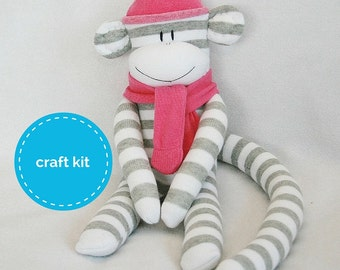 Stuffed toys, Sock Monkey Craft  Kit - Grey and White Stripes and Dark Pink Hat, Toy Pattern