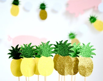 Glitter Pineapple Cupcake Toppers - 12 toppers in yellow or gold with green glitter tops