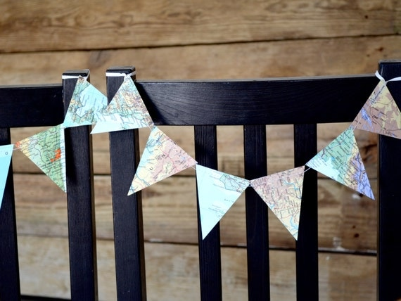 Vintage Map Bunting Chair Garland - vintage atlas banner