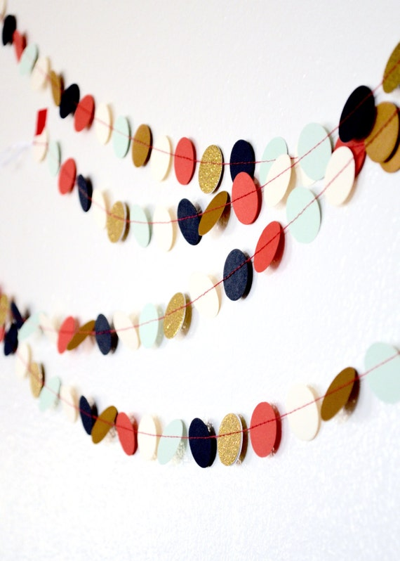 Navy, Mint, Coral, Cream, and Gold or Silver, Confetti Circles Garland