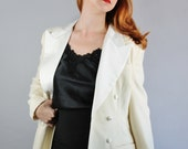 Vintage 90s Cream Women's Tuxedo Style Cocktail Formal Party Jacket