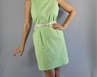 Summer Gingham Dress, Green, Vintage 90s, Easter, Sheath, Shift, Sleeveless, Office, Wiggle, Viva las vegas, Pinup, Rockabilly, Size Medium