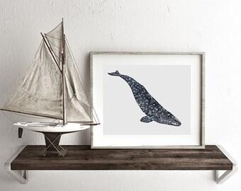 Watercolor Gray Whale Print, Whale art, Whale print, Grey Whale painting,  Whale watercolor, Whale watercolor painting, Beach House Decor