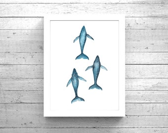 Humpback Whale Migration Watercolor Print, Whale art, Whale watercolour, Humpback print, Whale painting, Whale Print, Beach House Decor