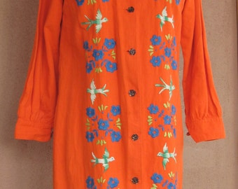Vintage 60s - Bright orange embroidered cotton long sleeves jacket or dress