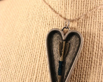 Dual Sided Arrow and Feather Heart Epoxy Pendant
