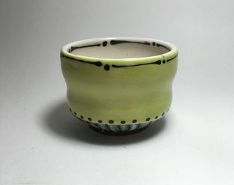 Chartreuse and Green Hand Painted Large Sake Cup- Porcelain Whiskey Cup - Sake Cup - Tea Bowl - Chartreuse and White Cup - Cordial Cup