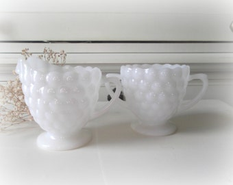 Vintage Milk Glass Sugar Bowl and Creamer Set Bubble Pattern Milk Glass