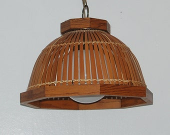 Mid Century, South Sea's, Natural Bamboo Slatted Shade w/ Oak Framing Surrounding a White Glass Globe Pendant Lamp by Backer MFG. Co. Calif.