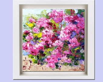 Flower Art, Original Rose oil painting, Cascading Roses, still life knife painting, 6x6 inch floral painting small format art, garden art
