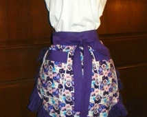 Cool, Floral, Fun Hostess Waist Apron 21 In Purple Pansies by Nanasaprons Handmade for Fun Cooking Baking