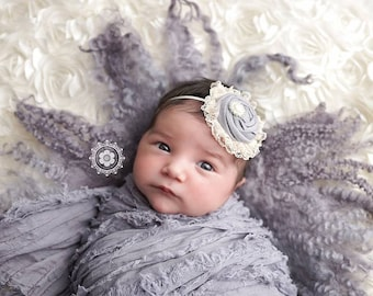 Good Graces- single rosette with ivory lace headband
