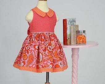 Girls sleeveless dress pink orange paisley summer dress Peter Pan collar- Scarlett