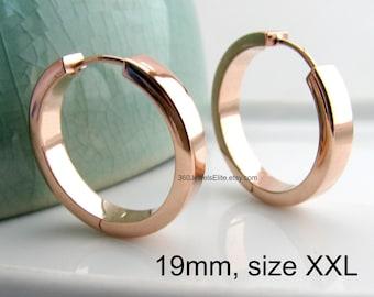 Men's earrings - endless hoop earrings - extra large rose gold plated hoop earrings  - big and bold shiny hoop gold earrings  - E194SR