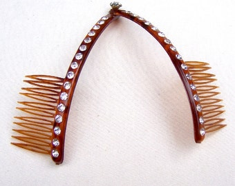 Vintage hair comb mid century faux tortoiseshell celluloid hair accessory hair ornament hair slide hair barrette