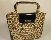 Sizzle n Purrr - 1950s Leopard Faux Fur Print & Black Patent Leather Tote Handbag